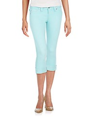 True Religion Rolled Cropped Jeans Turquoise