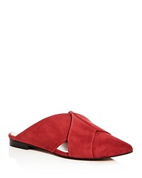 1.State Women's Rime Suede Pointed Toe Mules Scarlet