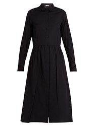 Vince Point Collar Cotton Poplin Shirtdress Navy