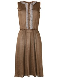 D'enia Buttoned Knit Dress Women Nylon Acetate Metallized Polyester M Brown