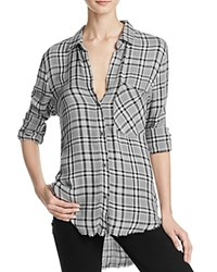 Bella Dahl Frayed Hem Plaid Shirt Grey