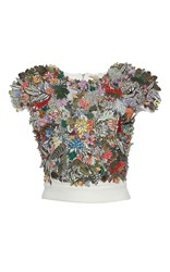 Rahul Mishra 3D Tropical Forest Cluster Crop Top White
