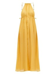 Cult Gaia Agatha Keyhole Front Silk Dress Yellow