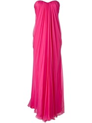 Alexander Mcqueen Draped Bustier Evening Dress Pink And Purple