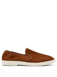 Rivieras Sultan Des Plages Perforated Suede Loafers Brown