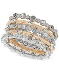 Lonna And Lilly Two Tone 5 Pc. Set Crystal Rings Created For Macy's