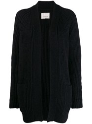 Laneus Ribbed Knit Cardi Coat Black