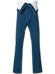 Y Project Fold Over Straight Jeans Blue