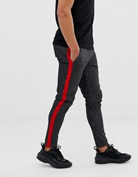 Jack And Jones Originals Stripe Trousers With Side Panel In Navy Total Eclipse