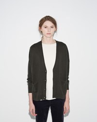 Organic By John Patrick Perfect Cardigan Dark Olive