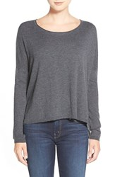 Women's Splendid Scoop Neck High Low Sweater Heather Charcoal