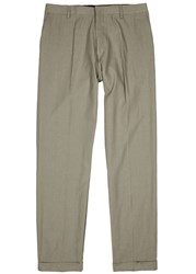 Etudes First Thing Army Green Linen Blend Trousers Khaki