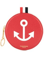 Thom Browne Anchor Round Coin Pouch Red