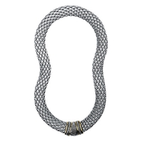 Adele Marie Wide Mesh Necklace Silver