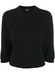 Elisabetta Franchi Knitted Cropped Top Black