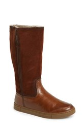 Women's Frye 'Gemma' Tall Genuine Shearling Lined Boot Cognac Nubuck