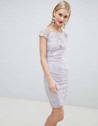 Lipsy Lace Embroidered Bodycon Dress Gray
