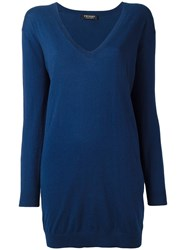 Twin Set V Neck Loose Fit Jumper Blue