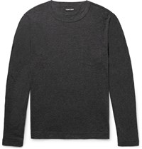 Tom Ford Slim Fit Melange Cotton And Cashmere Blend T Shirt Charcoal