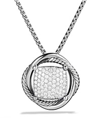 David Yurman Infinity Medium Pendant With Diamonds On Chain Silver