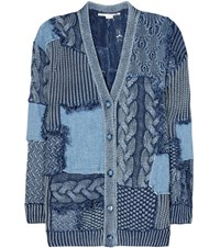 Stella Mccartney Knitted And Denim Cotton Cardigan Blue