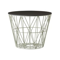 Ferm Living Medium Wire Basket Dusty Green With Black Lid
