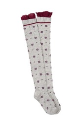 Steve Madden Single Over The Knee Floral Socks Gray