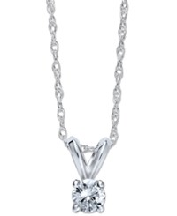 Macy's Round Cut Diamond Pendant Necklace In 10K Yellow Or White Gold 1 5 Ct. T.W.