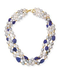 Belpearl Three Row Tahitian And South Sea Pearl Necklace With Tanzanite
