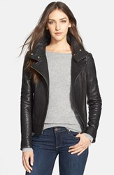Women's Mackage Stand Collar Lambskin Leather Jacket Black