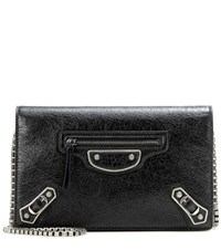 Balenciaga Giant Chain Wallet Leather Shoulder Bag Black