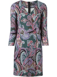Etro Paisley Print Wrap Dress Green