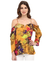 Nicole Miller Botanic Marigold Cold Shoulder Top Marigold Women's Clothing Yellow