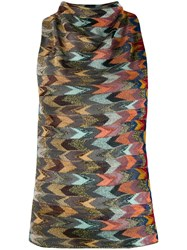 Missoni Multicolour Pattern Knitted Top Blue