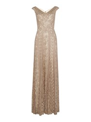 Tadashi Shoji V Neck Sequin Gown With Fish Tail Champagne