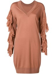 Nude Tassel Detail Sweater Dress Nude And Neutrals