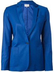 Paul And Joe Notched Lapel Blazer Women Polyamide Spandex Elastane Viscose Wool 42 Blue