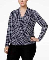 Alfani Plus Size Chiffon Overlay Surplice Blouse Only At Macy's Textured Plaid