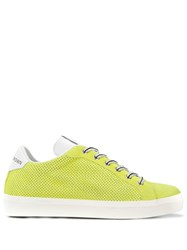 Leather Crown Perforated Sneakers Yellow