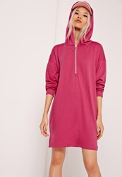 Missguided Zip Front Hooded Sweater Dress Pink