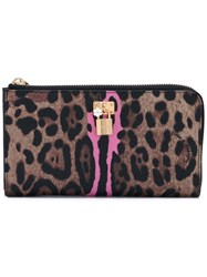 Dolce And Gabbana Leopard Print Wallet Women Cotton Polyester Polyurethane One Size Brown