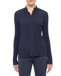 Akris Punto Pleated Knit Button Down Top Deep Blue