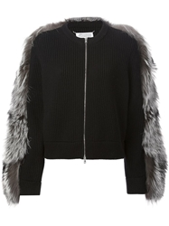 Maison Martin Margiela Fox Fur Sleeve Jacket Black