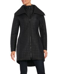 Dawn Levy Oversize Collar Quilted Coat Black