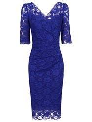 Jolie Moi Three Quarter Sleeve Scalloped Lace Dress Royal Blue