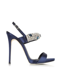 Giuseppe Zanotti Navy Satin And Crystal High Heel Sandal Navy Blue