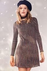 Kimchi And Blue Melody Stripe Shimmer Mini Dress Black Multi