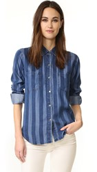 Rails Cater Button Down Shirt Indigo Block Stripe