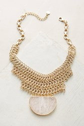Anthropologie Quartz Chainmail Choker Necklace Gold