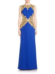 Tadashi Shoji Metallic Lace Trimmed Crepe Gown Gold Mystic Blue